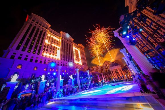 Fireworks display at Caesars Palace in Las Vegas