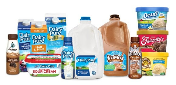 Various Dean Foods products including containers of Dairy Pure, Milk, ice cream and sour cream.