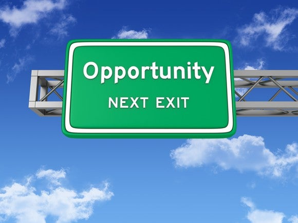 Opportunity next exit road sign
