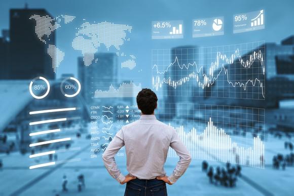 A person looking at digital charts.