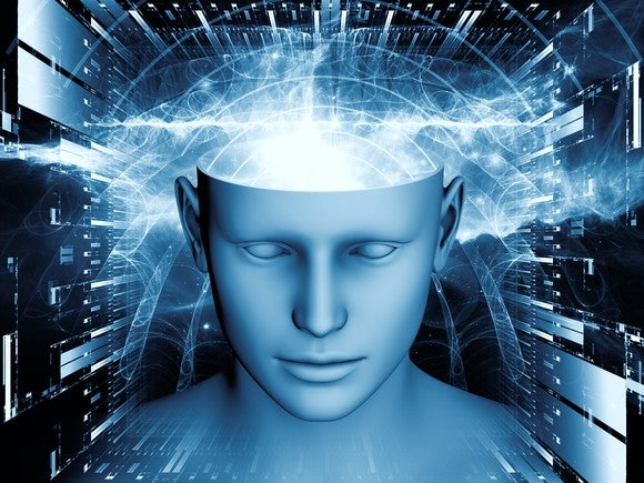 modernistic graphic illustration of man's head with top of it open and rays of light coming out from where brain would be