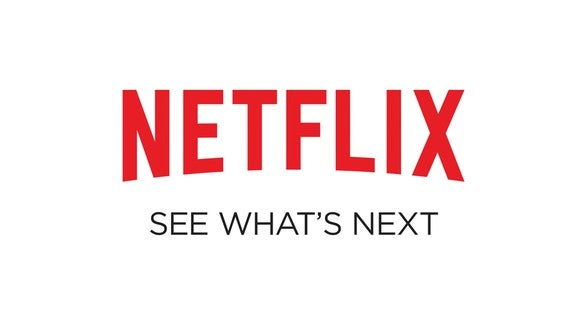 The iconic red Netflix logo and See what's next in grey, all on a white field.