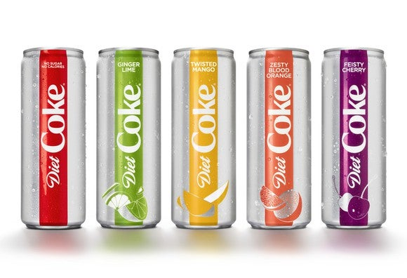 Original Diet Coke and four new flavors in sleek new 12-ounce can packaging.