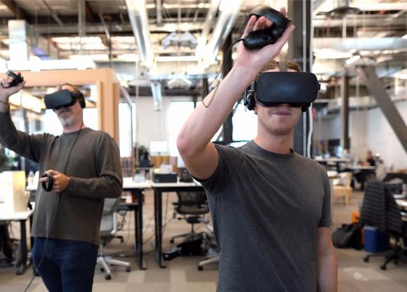 Mark Zuckerberg trying virtual reality