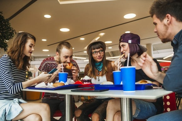 Five young people eating fast food.