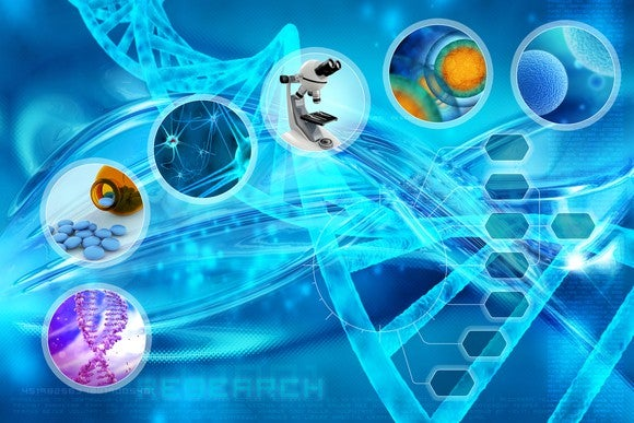 Montage of drug research images on blue background.