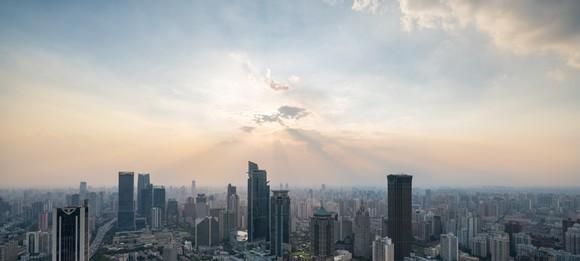 sunset above shanghai city