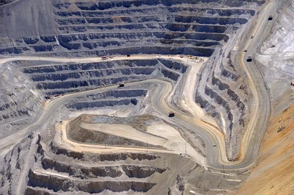 Deep surface mining pit