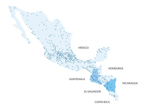 Map of cities where Wal-Mart de Mexico has stores.