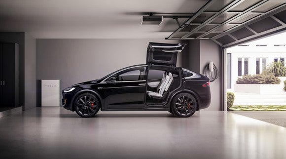 A Tesla Model X in a garage with its falcon-wing doors open, and a Tesla Powerwall