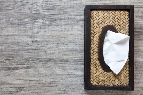 A tissue box on a table.