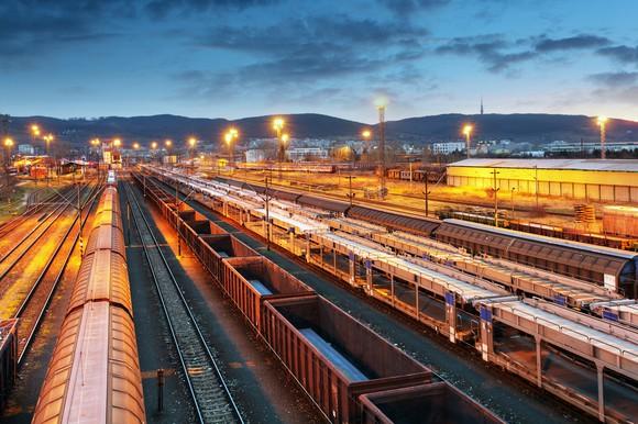 Rail yard at dusk.