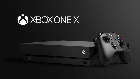 The Xbox One X console and a controller.