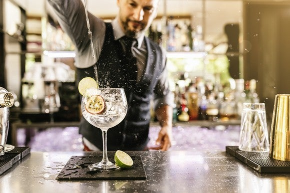 Bartender pouring a drink.