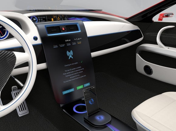 A car's infotainment and OS display system.