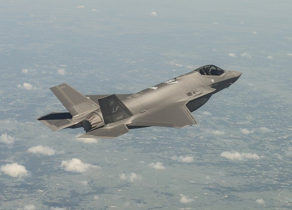An F-35 flying above the clouds.
