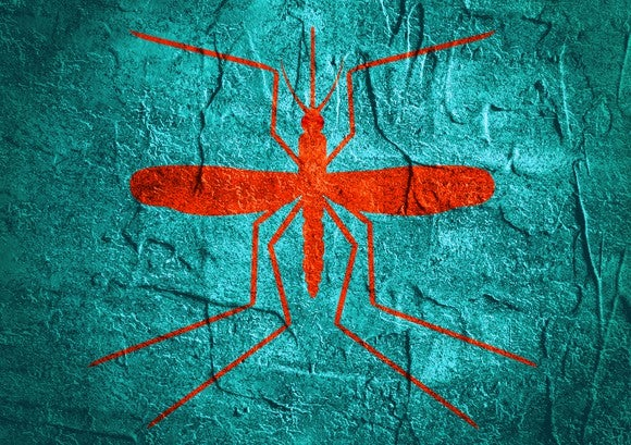 an orange drawing of a mosquito on a blue background.