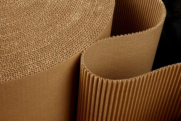 Roll of brown paper corrugation.
