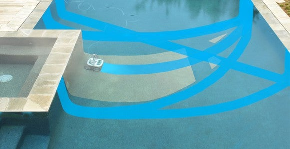 Pool cleaning robot mapping the pool.