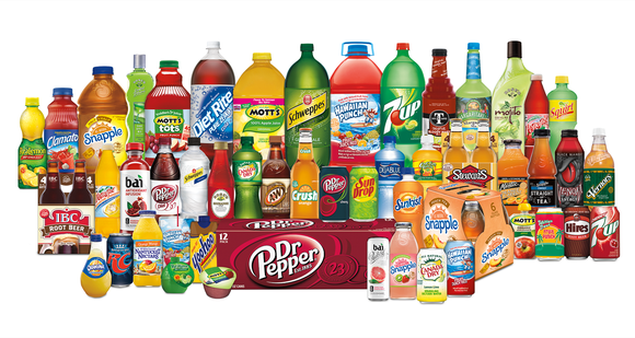 Dozens of Dr. Pepper Snapple Group beverage products