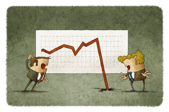 Two animated men look on in shock as a stock chart crashes through the floor