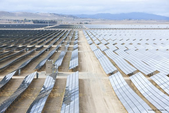 Large solar farm in the desert.