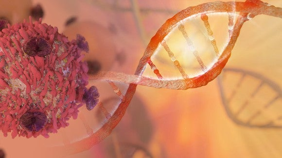 Image of a human cancer cell and a DNA molecule.