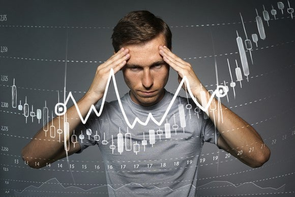 Man with hands to side of head behind candlestick stock chart