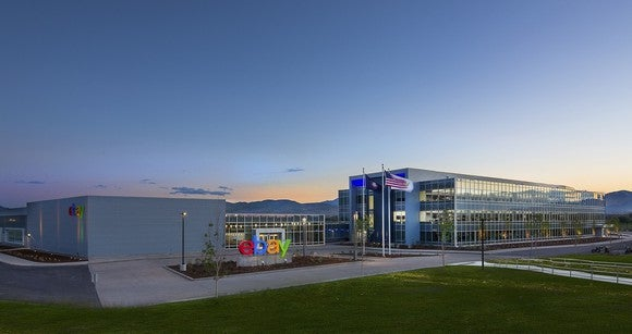 eBay office with colorful company sign in front