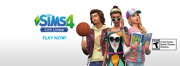 A Sims 4 logo and three characters.