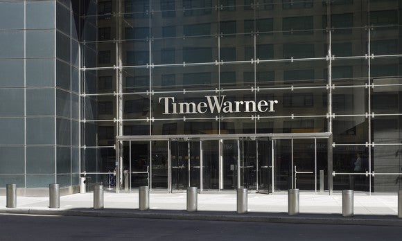 The front of the building that is Time Warner's corporate headquarters