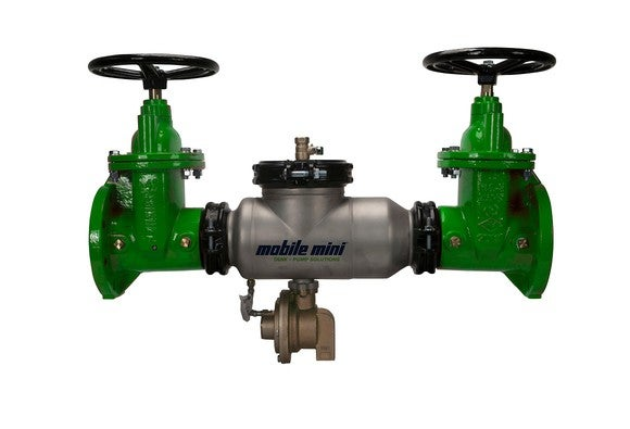 Backflow preventer, with two green valves attached to a central unit with the Mobile Mini logo on it.