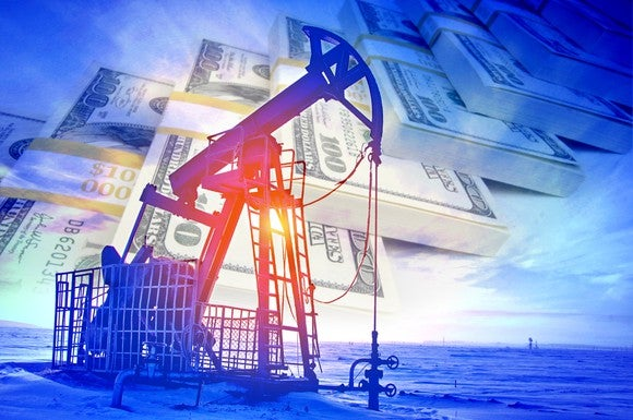 An oil pump with stacks of $100 bills in the back ground.