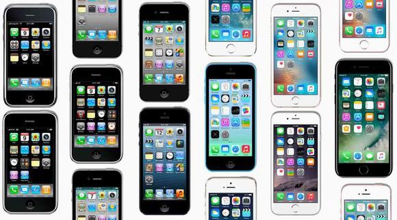 "Apple's iPhones in a ""mosaic"" arrangement."