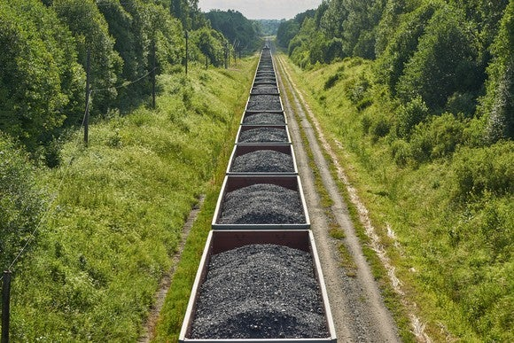Coal on a train traveling through the woods.