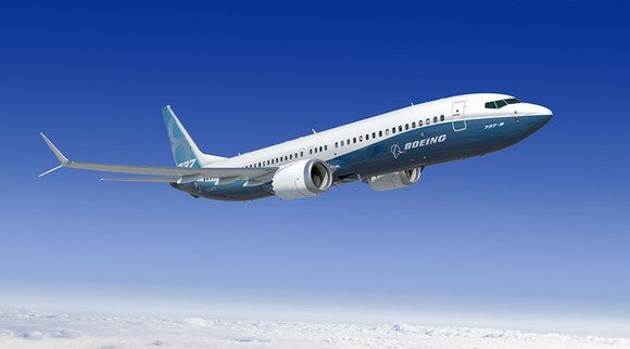 A rendering of a Boeing 737 MAX 8 in flight