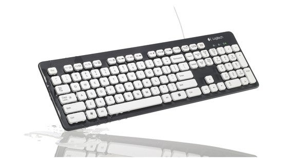 A washable keyboard from Logitech, emerging from water