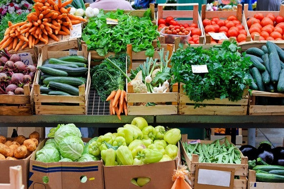 Boxes full of different kinds of vegetables at a market