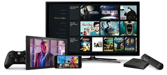 Amazon Prime Video on a tablet, smarpthone, and Fire TV.