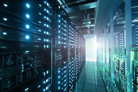 Interior of a server room.