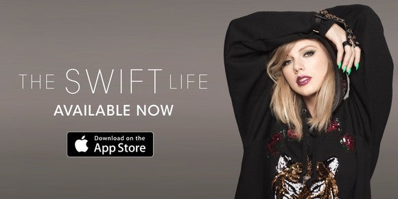Taylor Swift in an ad promoting the availability of The Swift Life for iOS devices.