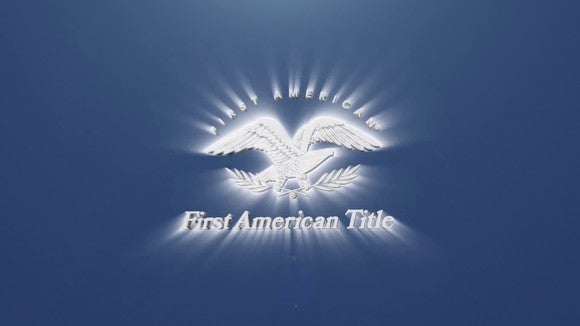 Eagle logo for First American Title, white on a blue background.