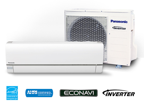 Fan and air conditioning unit with various logos underneath.
