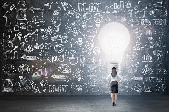 A woman reviewing a plan drawn on a massive chalkboard, surrounding a giant lightbulb