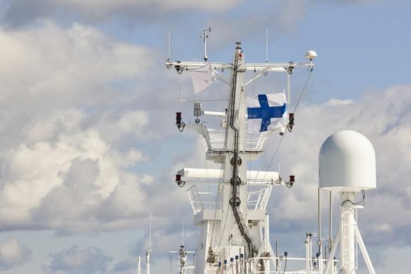 Finnish flag on a ship mast