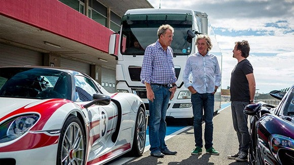 The cast of Amazon's The Grand Tour on set.