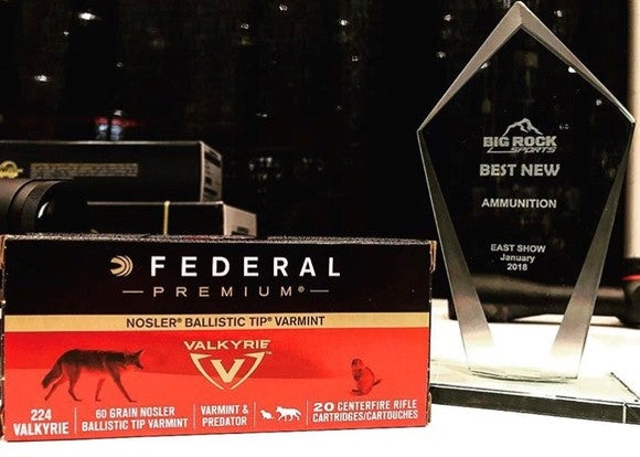 A box of Vista Outdoor's new 224 Valkyrie ammunition sitting next to an award
