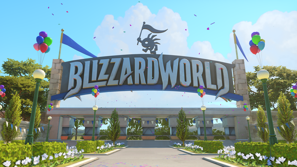 Screenshot from Overwatch video game with a large banner displaying the words Blizzard World.