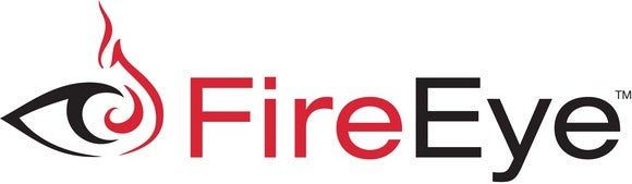 FireEye logo of the left half of an eye in black and a right half of a flame in red.