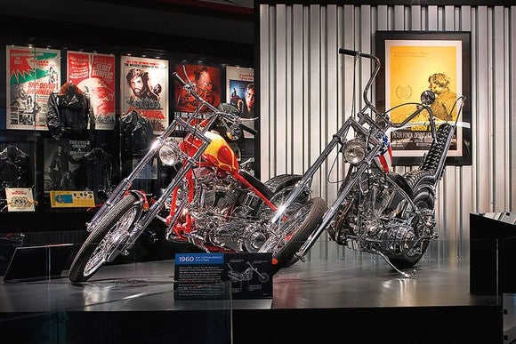 Museum display of Billy Bike and Captain America from the movie Easy Rider